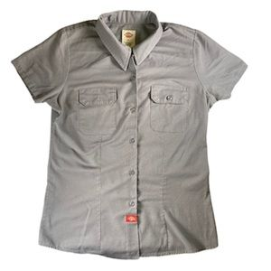 🌸💲5)Dickies Work Shirt Grey Button Down Sz Small